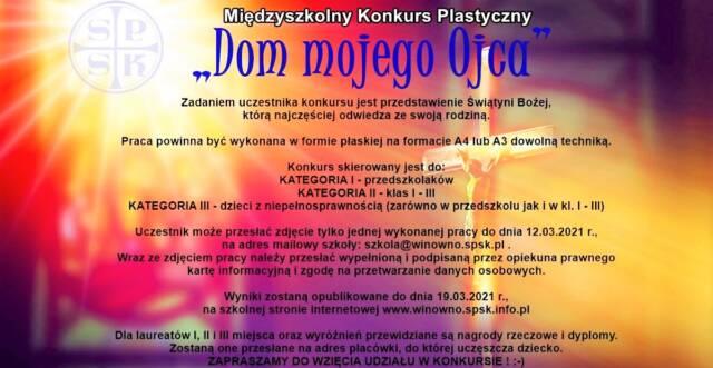 """Międzyszkolny konkurs plastyczny """"Dom mojego Ojca"""""""
